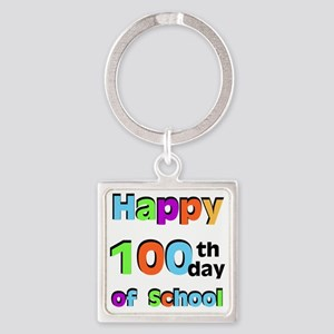 Happy 100th Day Square Keychain