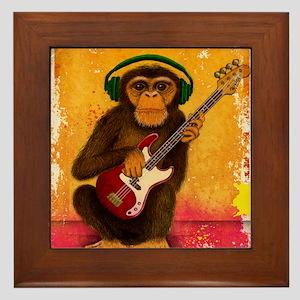 Funky Monkey Bass Player Framed Tile