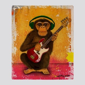 Funky Monkey Bass Player Throw Blanket