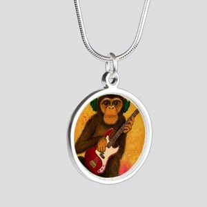 Funky Monkey Bass Player Silver Round Necklace