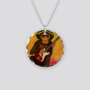Funky Monkey Bass Player Necklace Circle Charm