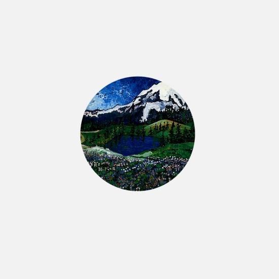 Mt Rainier with Blue Sky Mini Button