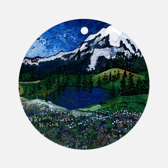 Mt Rainier with Blue Sky Round Ornament