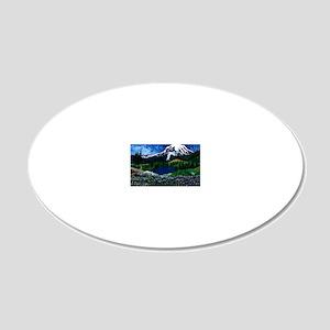 Mt Rainier with Blue Sky 20x12 Oval Wall Decal