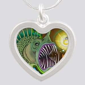Angler Fish Silver Heart Necklace
