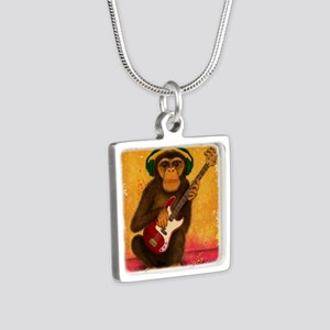 Funky Monkey Bass Player Silver Square Necklace