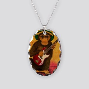 Funky Monkey Bass Player Necklace Oval Charm