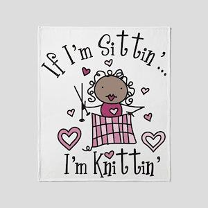 I'm Knittin' Throw Blanket