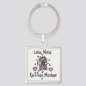 Knitting Machine Square Keychain