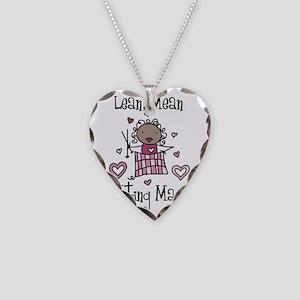 Knitting Machine Necklace Heart Charm