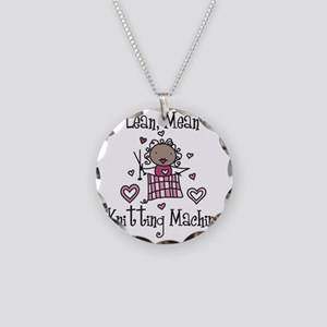 Knitting Machine Necklace Circle Charm