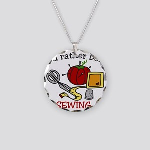 Rather Be Sewing Necklace Circle Charm