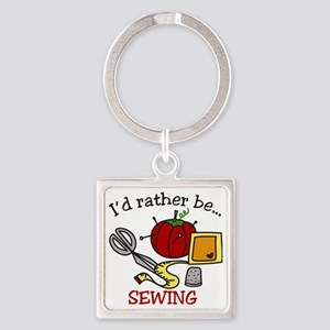 Rather Be Sewing Square Keychain