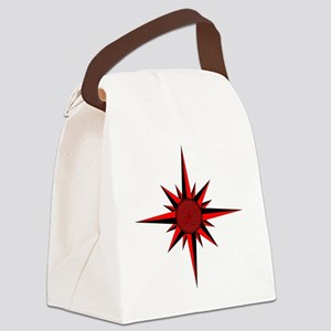 Red Compass Rose Canvas Lunch Bag