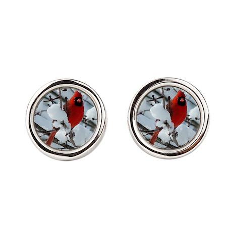 Snow Cardinal Cufflinks