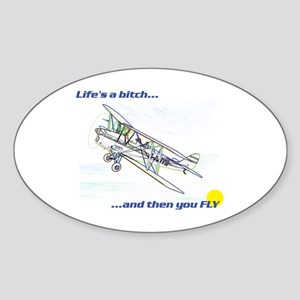 Fly! Tiger Moth. Oval Sticker