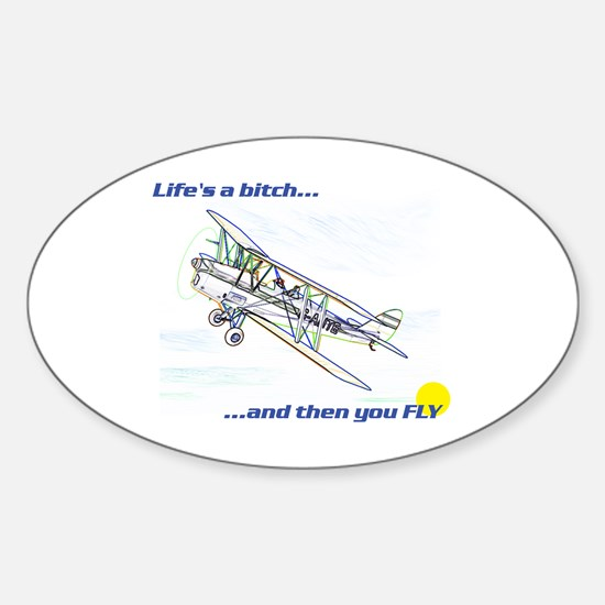 Fly! Tiger Moth. Oval Decal