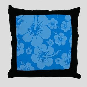 Blue Hibiscus Hawaii Print Throw Pillow