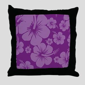 Purple Hibiscus Hawaii Print Throw Pillow
