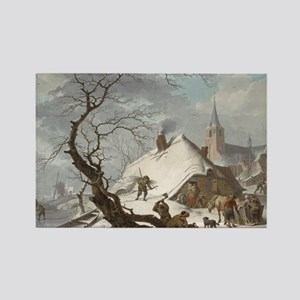 Painting of a Winter Scene Rectangle Magnet