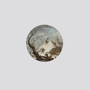 Painting of a Winter Scene Mini Button