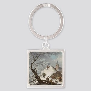Painting of a Winter Scene Square Keychain