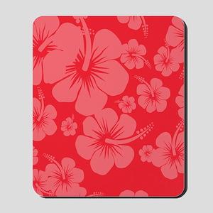 Red Hibiscus Hawaii Print Mousepad