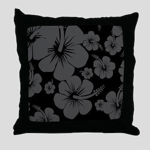 Black Hibiscus Hawaii Print Throw Pillow