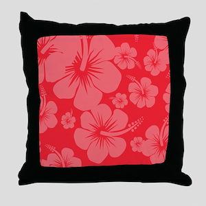 Red Hibiscus Hawaii Print Throw Pillow
