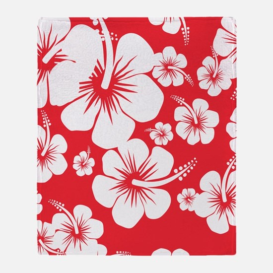 Red and White Hibiscus Hawaii Print Throw Blanket