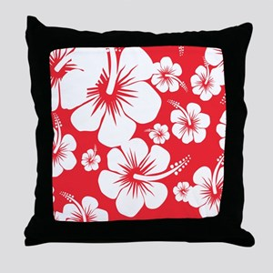 Red and White Hibiscus Hawaii Print Throw Pillow