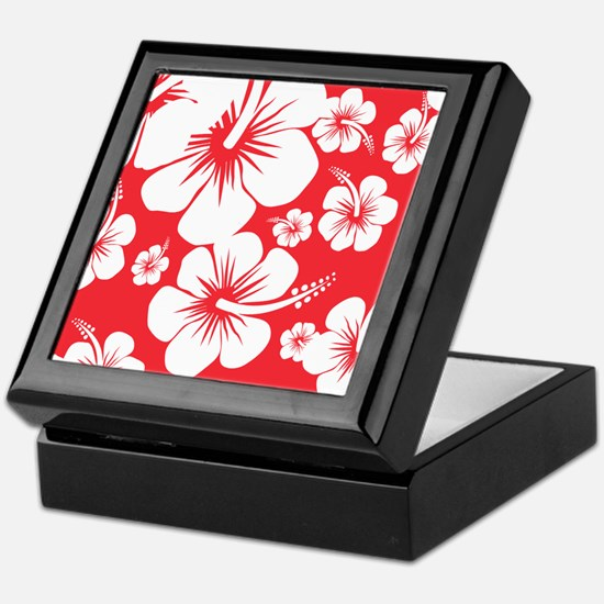 Red and White Hibiscus Hawaii Print Keepsake Box