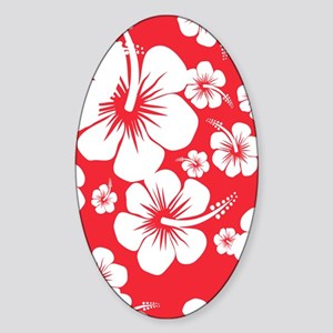 Red and White Hibiscus Hawaii Print Sticker (Oval)