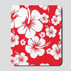 Red and White Hibiscus Hawaii Print Mousepad