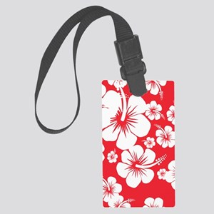 Red and White Hibiscus Hawaii Pr Large Luggage Tag