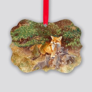 Painting of Momma Fox and Kits Picture Ornament