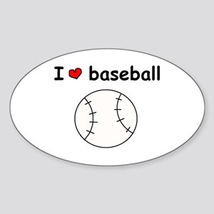 I HEART LOVE BASEBALL Oval Sticker