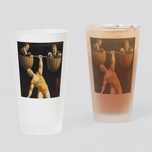 Weightlifting Old School Drinking Glass