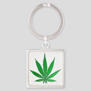 Pot Leaf Square Keychain