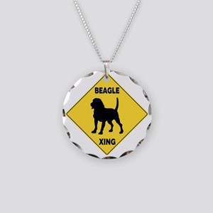 Beagle Crossing Sign Necklace Circle Charm
