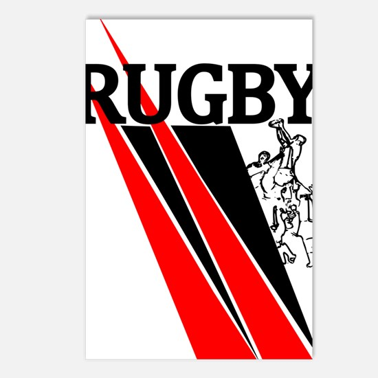 Rugby Line Out Red Black Postcards (Package of 8)