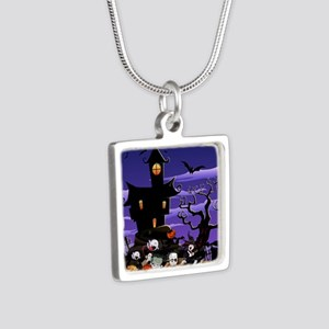 Kids Halloweening Silver Square Necklace
