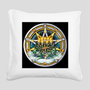 Imbolc Sabbat Pentacle Square Canvas Pillow