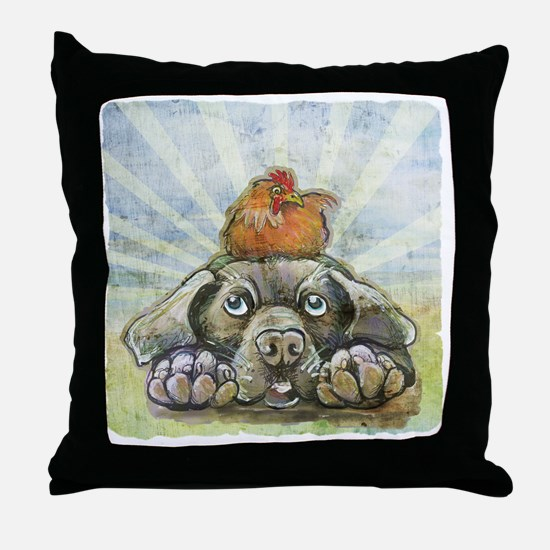 The Chicken and the Dog Throw Pillow