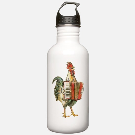 Accordian Playing Chic Water Bottle
