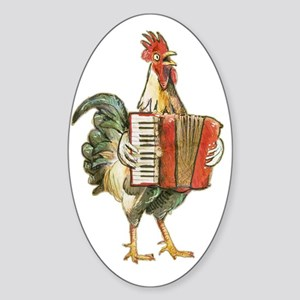 Accordian Playing Chicken Sticker (Oval)