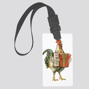 Accordian Playing Chicken Large Luggage Tag