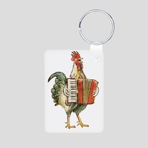 Accordian Playing Chicken Aluminum Photo Keychain