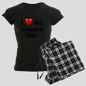 I Love My Menage a Trois lig Women's Dark Pajamas