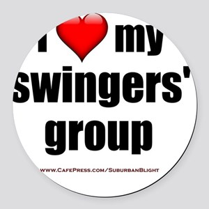 I Love My Swingers Group lightapp Round Car Magnet